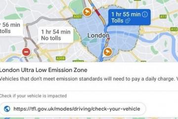 谷歌地图将向用户发出低排放区进入警告